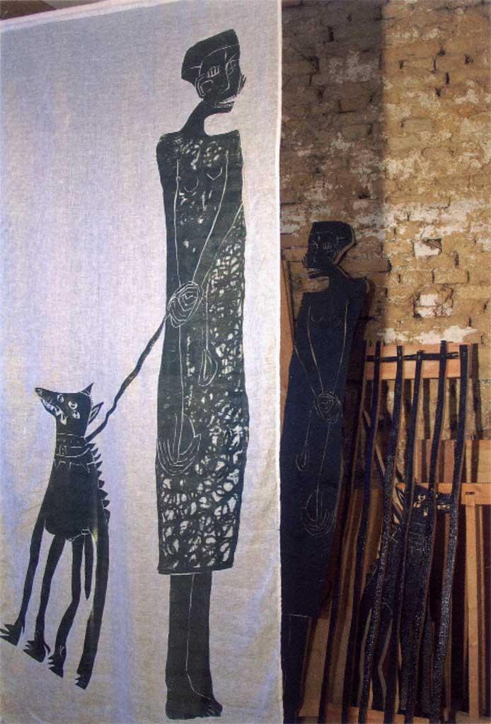 Ausstellung 18.06. - 31.07.2011 | Barbara Wetzel | Margarete oder Frau mit Hund | Holzschnitte, Zeichnungen und Objekte